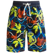 Maui Waves Printed Swim Trunks (For Little Boys) in Surfs Up - Closeouts