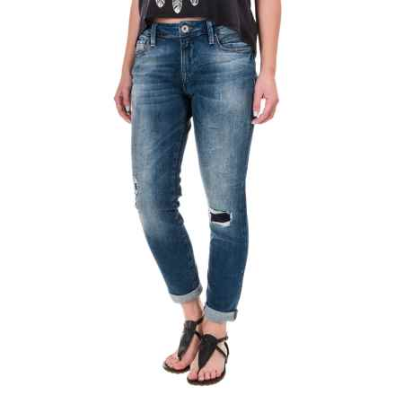 Mavi Ada Boyfriend Jeans - Stretch Cotton (For Women) in Mid Patched Vintage - Closeouts