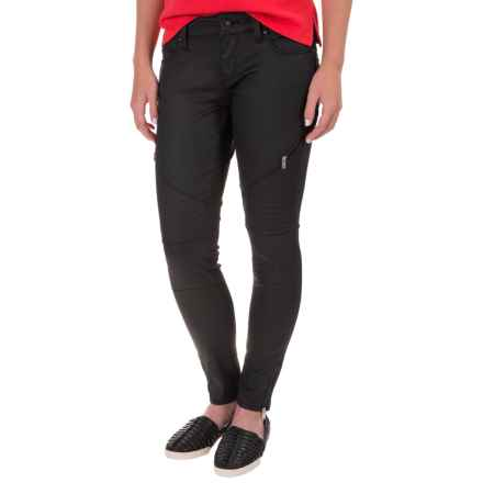Mavi Jeans Victoria Zip Detailed Skinny Jeans - Stretch Cotton, Low Rise (For Women) in Black Gold Heather - Closeouts