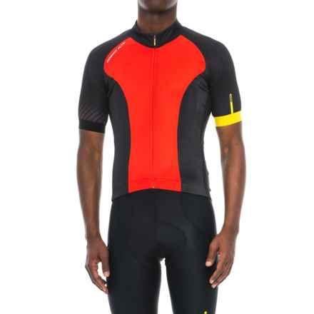Mavic Cosmic Elite Cycling Jersey - UPF 30, Full Zip, Short Sleeve (For Men) in Fiery Red/Black - Closeouts