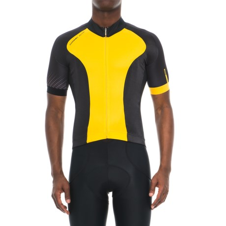 Mavic Cosmic Elite Cycling Jersey - UPF 30, Full Zip, Short Sleeve (For Men) in Yellow Mavi/Black