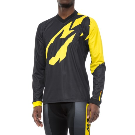 Mavic Crossmax Pro Jersey - V-Neck, Long Sleeve (For Men) in Black/Yellow Mavic