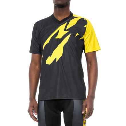 Mavic Crossmax Pro Jersey - V-Neck, Short Sleeve (For Men) in Black/Yellow Mavic - Closeouts