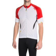Mavic HC Cycling Jersey - Full Zip, Short Sleeve (For Men) in White/Bright Red - Closeouts