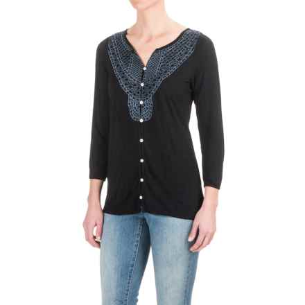 Max Jeans Charlotte Pristine Emblem Shirt - 3/4 Sleeve (For Women) in Black - Closeouts