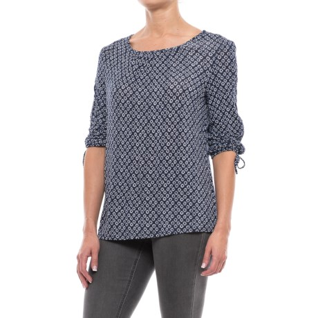 Max Jeans Cinch-Sleeve Swing Shirt - 3/4 Sleeve (For Women) in Single Note