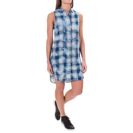 Max Jeans Cotton Dress - Sleeveless (For Women) in Blue Lexi Plaid - Closeouts
