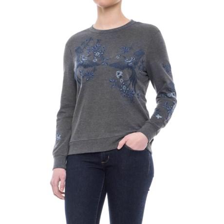 Max Jeans Crew Neck Sweatshirt (For Women) in Dark Grey/Bird Embroidery