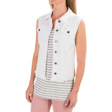 Max Jeans Denim Trucker Vest (For Women) in White - Closeouts