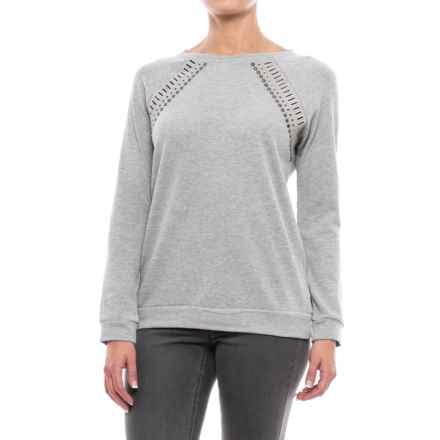 Max Jeans Don Cutout Raglan Sweatshirt (For Women) in Light Heather Grey - Closeouts
