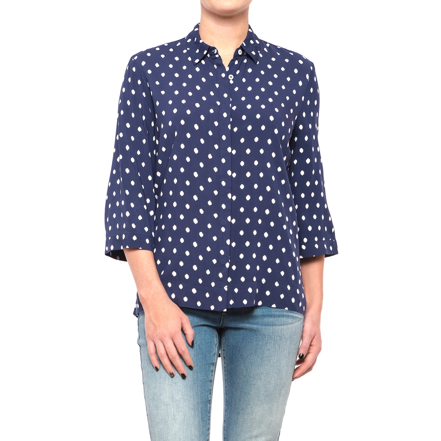 Max Jeans Hidden-Placket Shirt - 3/4 Sleeve (For Women) in