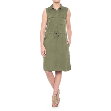 Max Jeans Shirt Dress - Sleeveless (For Women) in Olivine