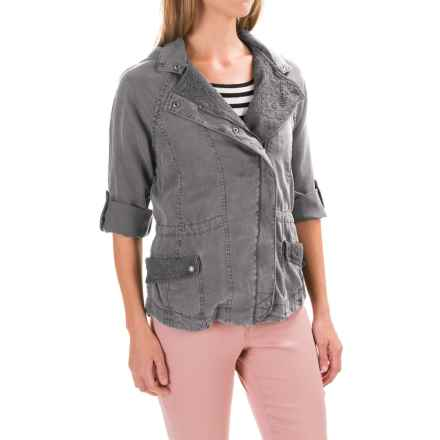 Max Jeans TENCEL® Lace-Trim Jacket - Hooded, Roll-Up Sleeve (For Women) in Art Grey - Closeouts
