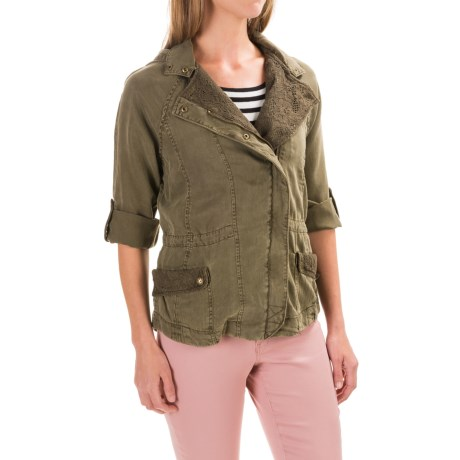 Max Jeans TENCEL® Lace-Trim Jacket - Hooded, Roll-Up Sleeve (For Women) in Olive