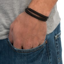 Max Reed Multi-Strap Leather Bead Bracelet (For Men) in Black/Onyx - Closeouts