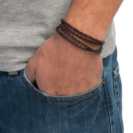Max Reed Woven Leather Skull Pendant Bracelet (For Men)
