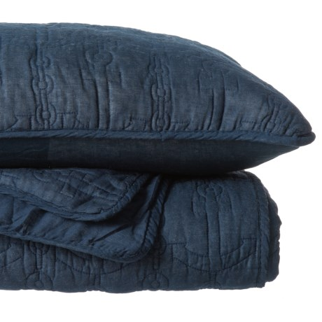 Max Studio Anchor Chain Quilt Set - Full-Queen in Medieval Blue