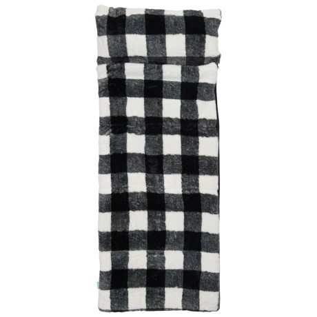 Max Studio Buffalo Check Faux-Fur Sleeping Bag (For Kids) in Black/White
