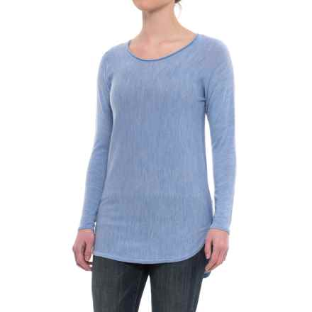Max Studio Cashfeel Tunic Shirt - Merino Wool, Long Sleeve (For Women) in Bluebell Heather - Closeouts