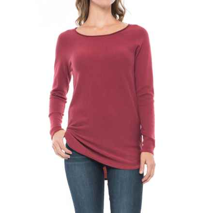 Max Studio Cashfeel Tunic Shirt - Merino Wool, Long Sleeve (For Women) in Rouge Heather - Closeouts