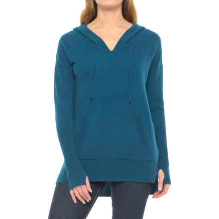 Max Studio Cashmere Hooded Sweater (For Women) in Mallard Solid - Closeouts