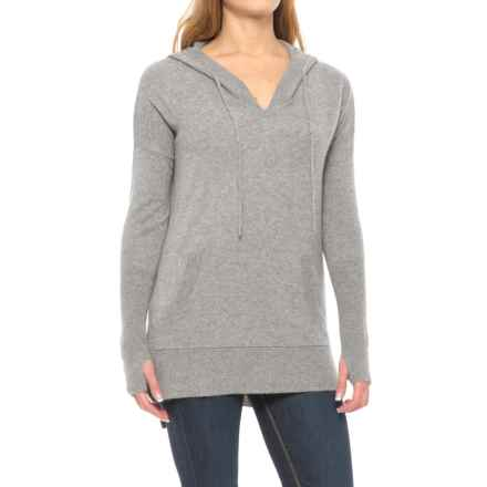 Max Studio Cashmere Hooded Sweater (For Women) in Steeple Grey Heather - Closeouts
