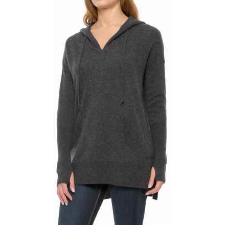 Max Studio Cashmere Hooded Sweater (For Women) in True Charcoal Heather - Closeouts