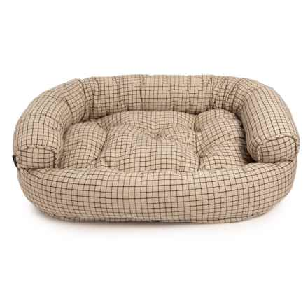 "Max Studio Charlie Plaid Bolster Couch Dog Bed - 48x36x14"" in Neutral - Closeouts"