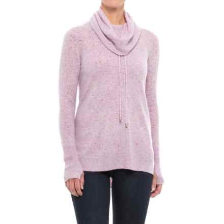 Max Studio Cowl Neck Donegal Flecked Cashmere Sweater (For Women) in Iris Heather - Closeouts