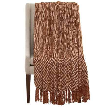 "Max Studio Diamond Chenille Throw Blanket - 50x60"" in Camel - Closeouts"