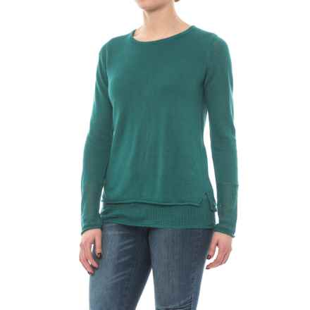 Max Studio Double-Layer Linen Knit Sweater (For Women) in Bayberry Green - Closeouts