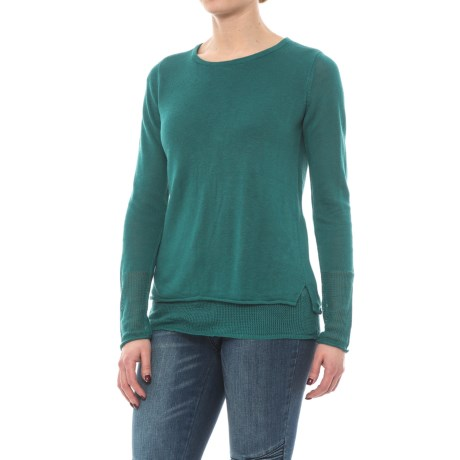Max Studio Double-Layer Linen Knit Sweater (For Women) in Bayberry Green