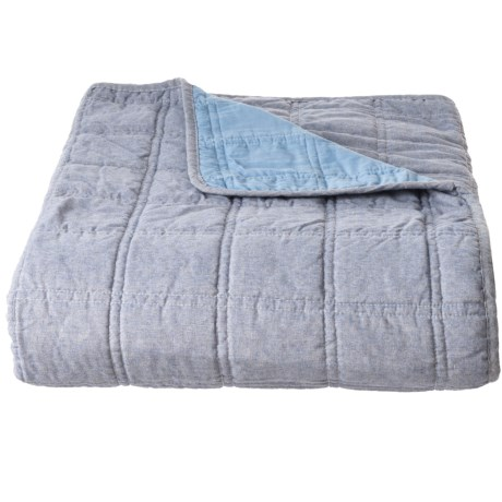 Max Studio Double Square Chambray Quilt - Full-Queen in Blue Chambray