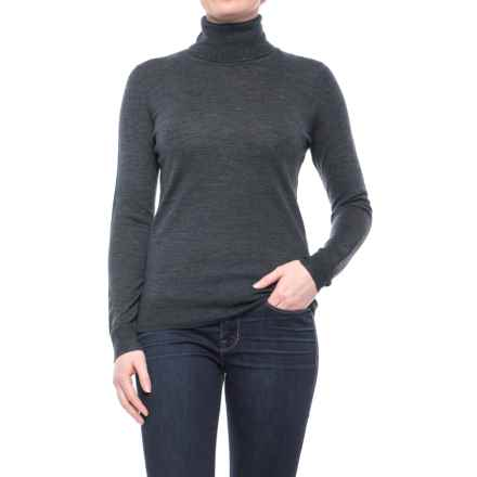 Max Studio Extra-Fine Merino Wool Turtleneck Sweater (For Women) in Charcoal Heather - Closeouts