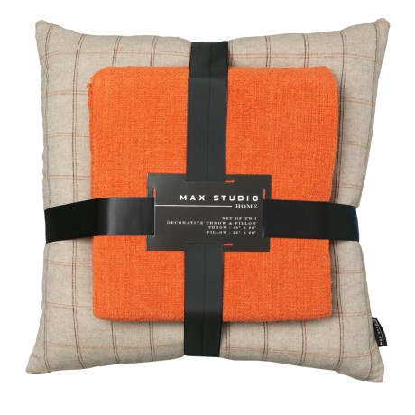 Max Studio Flannigan Feather Pillow And Throw Blanket Set In Rust