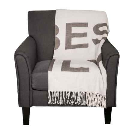 Max Studio Good Vibes Only Throw Blanket 50x60 In Grey Closeouts
