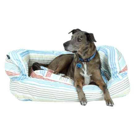"Max Studio Happy Stripe Canvas Bolster Dog Bed - XL, 38x26"" in Multi - Overstock"