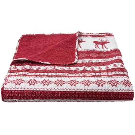 Max Studio Holiday Red Holiday Nordic Quilt - Full-Queen in Red - Closeouts
