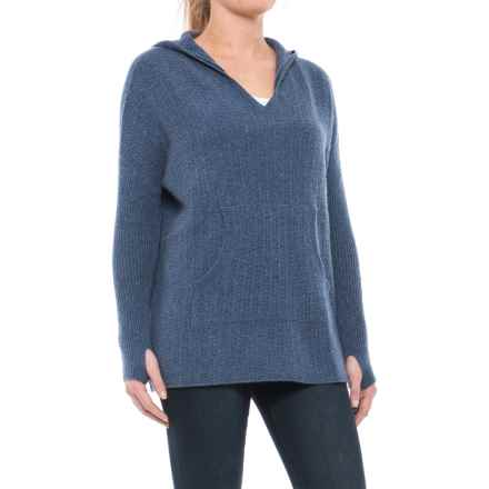 Max Studio Hooded Cashmere Sweater (For Women) in Blue Stack Heather - Closeouts