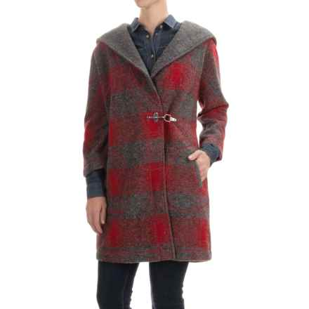 Max Studio Hooded Toggle Coat - Boiled Wool (For Women) in Red/Charcoal - Closeouts