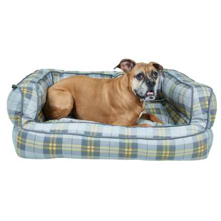 "Max Studio Pet Plaid Bolster Dog Bed - Extra Large, 36x27"" in Grey/Yellow - Closeouts"
