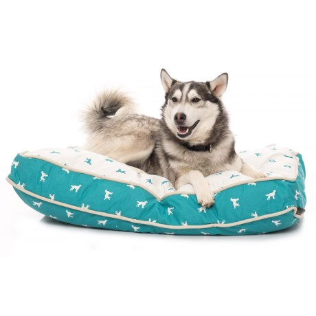 "Max Studio Polka Dog Rectangle Dog Bed - 27x36x4"" in Blue Tile"
