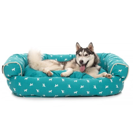 """Max Studio Polka Dog Round Couch Bolster Dog Bed - 48x36x14"""" in Blue Tile"""
