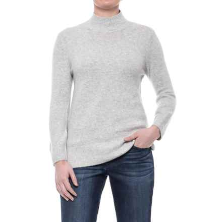 Max Studio Recovery Yarn Mock Turtleneck - Long Sleeve (For Women) in Whitecap Grey Heather - Closeouts