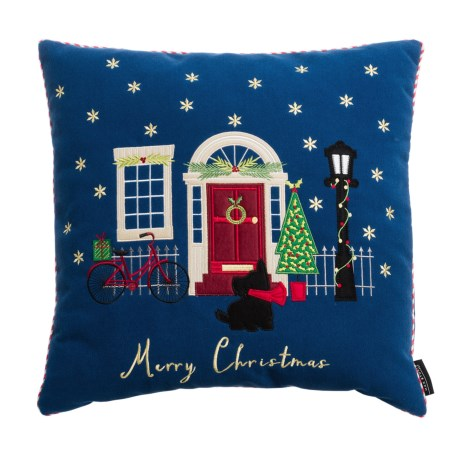 "Max Studio Scottie's House Holiday Pillow - 20x20"" in Blue"