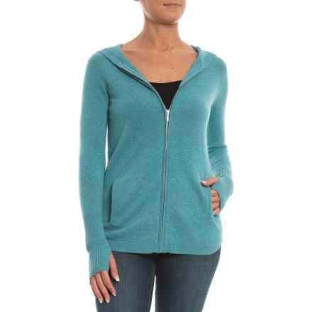 Max Studio Shirttail Full Zip Hooded Sweater - Cashmere (For Women) in Baltic Heather - Closeouts