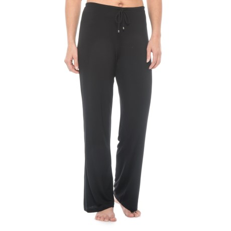 Max Studio Solid Pajama Pants - Stretch Rayon (For Women) in Black
