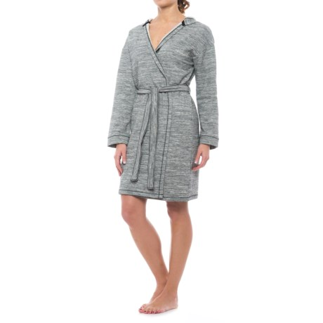 Max Studio Space-Dye Robe - Long Sleeve (For Women) in Black/Grey Spacedye