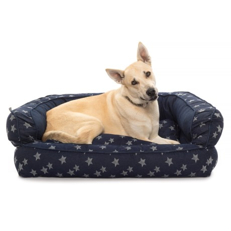 "Max Studio Star Denim Bolster Dog Bed - 36x27"" in Denim"
