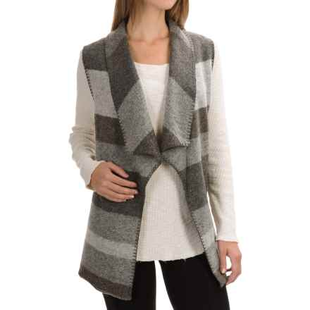 Max Studio Striped Boiled Wool Vest (For Women) in Grey/Brown - Closeouts